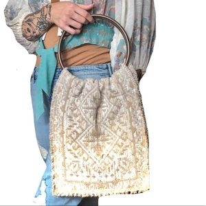 Vintage Canvas Tote Wooden Handle Mod Bag